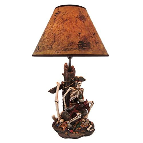 Superbe Resin Table Lamps Pirate Skeleton W/Treasure Table Lamp W/Shade 21 Inches  Tall 13 X 21 X 13 Inches Multicolored