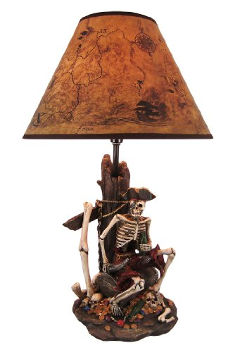 Pirate Skeleton W/Treasure Table Lamp W/Shade 21 inches tall (Lamp 21 Shade Inch)