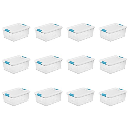 (Sterilite 14948012  15 quart/14 L Latching Box with Clear Base, White Lid and Colored Latches, 12- Pack)