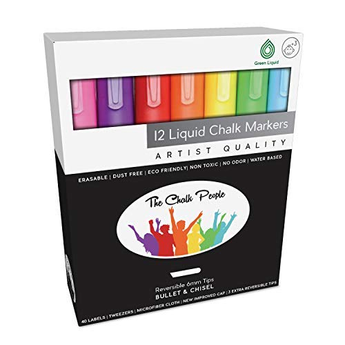 Liquid Chalk Markers & Chalkboard Labels- Our 12 Pack of Neon Chalk Pens are Washable Wet Erase Marker for Windows Glass Mirror Bistro Blackboard Whiteboard Kids Art Menu Boards Chalk Board Signs
