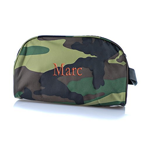 Personalized Oh Mint cosmetic, toiletry, baby, and travel bag different prints and fabrics available embroidered with your name or text (camo nylon)]()
