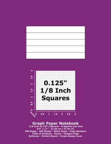 "Books : Graph Paper Notebook: 0.125 Inch (1/8"") Squares; 8.5"" x 11""; 21.6 cm x 27.9 cm; 200 Pages; 100 Sheets; White Paper; Page Numbers; Table of Contents; Quad; Grid; Purple Glossy Cover"