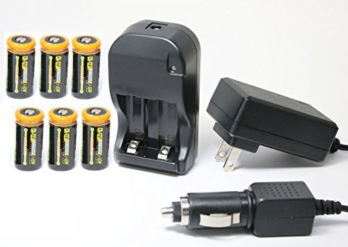 Ultimate Arms Gear Tactical 6pc CR123A 3V 1200 mAh Lithium Li-Ion Rechargeable Batteries Battery Charger Kit with Universal 110/220V Rapid Wall Outlet & 12V Car Lighter Plug Adapter for SUREFIRE Flashlight Light Laser by Ultimate Arms Gear