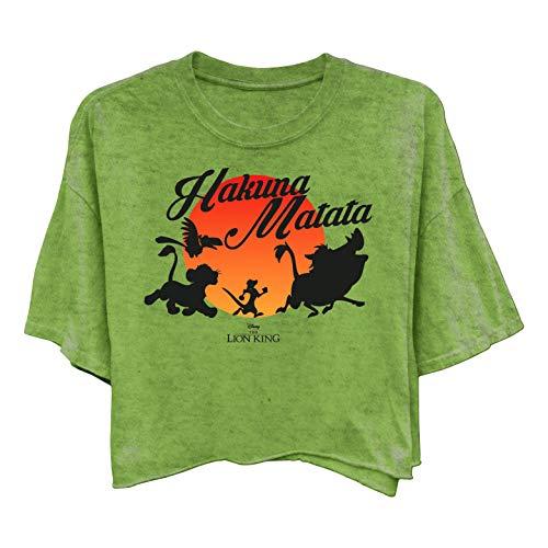 Disney Ladies Lion King Fashion Shirt - Ladies Classic Hakuna Matata Clothing Lion King Enzyme Wash Tee (Washed Olive, X-Large) -
