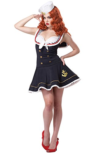 Mememall Fashion Sexy Deluxe Navy Sailor Nautical Doll Adult Halloween Costume (Jackie Moon Halloween Costume)