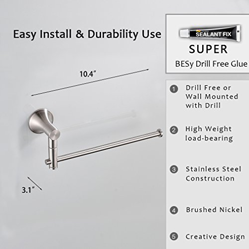 BESy Self Adhesive Single Towel Bar 10-Inch with Swing out arms, Drill Free with Glue or Wall Mounted with Screws, SUS304 Stainless Steel, Brushed Nickel Finish by BESy (Image #4)