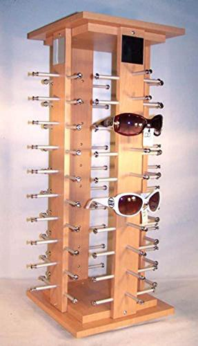 Brown Wooden 40 Pair Holder Spinning Counter Sun Glass Display - Sunglasses 40 E