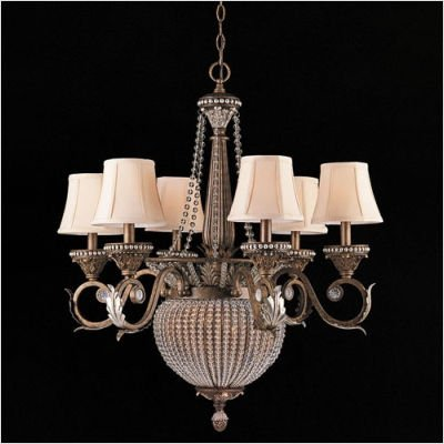(Crystorama 6726-WP Crystal Accents Six Light Chandelier from Roosevelt collection in)