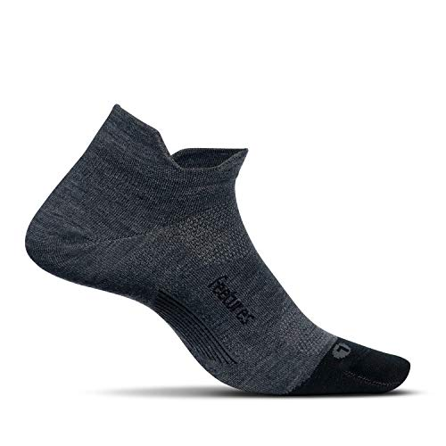 Feetures - Merino 10 Ultra Light - No Show Tab - Athletic Running Socks for Men and Women - Gray - X-Large