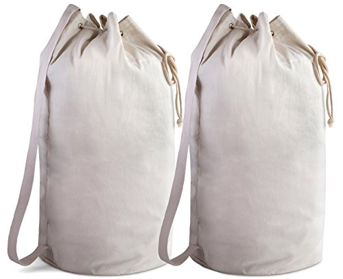 Canvas Duffel Bag - 2 PACK - Drawstring with Leather Closure and Shoulder Strap for Easy Carrying. The Strong Canvas Material makes this a Reliable Bag for Laundry, Travel or Camping. (28 x 14 Inches)