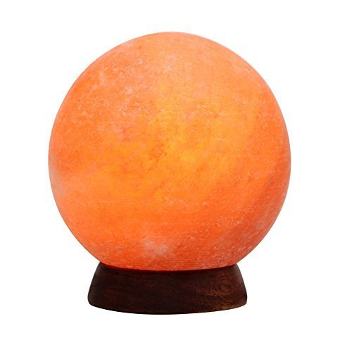 6inch 8-9Lbs Himalayan Salt Lamp Globe Hand Carved from Crystal Rock Salt Nightlight on Wood Base with Dimmer Control, Light Bulb by Oumai