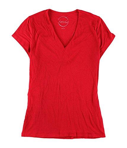 I-N-C Womens Ribbed Basic T-Shirt Red L