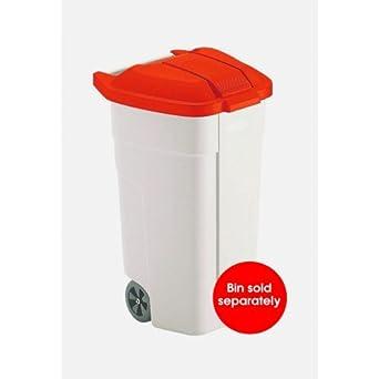 Janitorial Express CB341-R - Tapa para contenedor de basura para ruedas móviles, color rojo: Amazon.es: Industria, empresas y ciencia