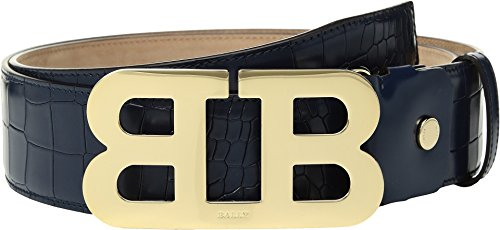 Bally  Men's Mirror B 45 Croc Stamped Belt Ocean 44 Bally Leather Belt