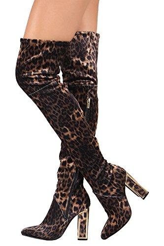 Bambù Delle Donne Illusione Stirata Pelle Scamosciata Ingabbiato Blocco Grosso Tacco Zip Su Punta A Punta Stivali Alti Leopardati
