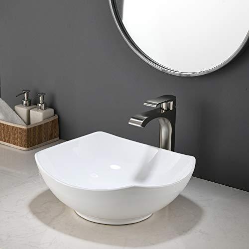 KINGO HOME Above Counter White Porcelain Ceramic Bathroom Vessel Sink
