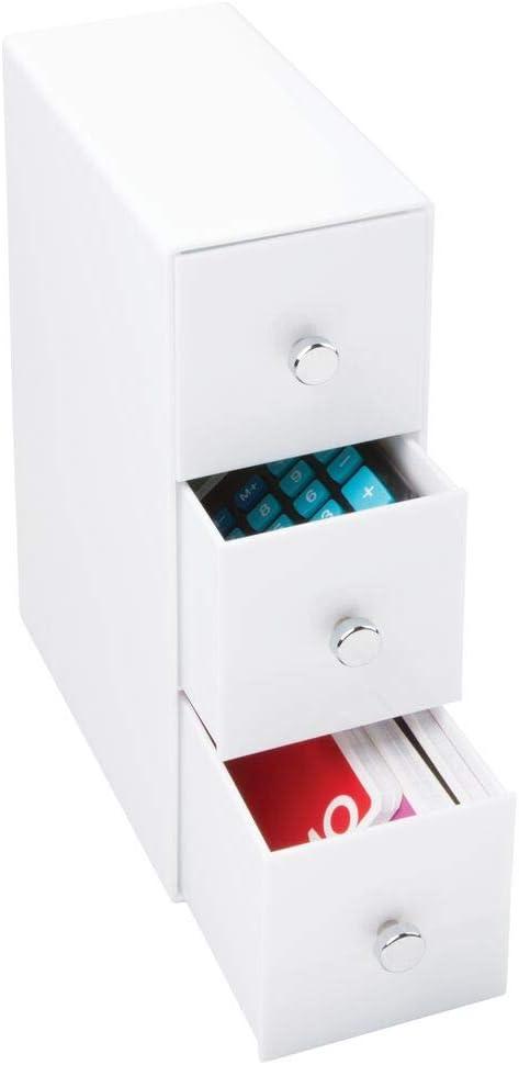 con 3 cassetti in marmo Armadietto da cucina t/è creme cialde per bevande zucchero in plastica dolcificanti per caff/è 18 sezioni mDesign