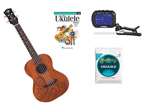 Luna Mahogany Concert Tatoo Ukulele with Gig Bag, Yamaha Tuner, DVD and Strings by aSavings