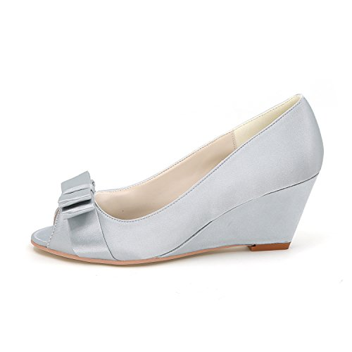 Peep Ferse Wedges 12 Party Y9140 Flower Ferse Schuhe Niedrige Bow Satin Prom Toe Braut Mitte Ager Dancewedding P7PBwqx8T
