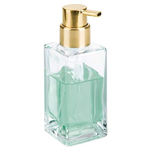 mDesign Modern Square Glass Refillable Foaming Hand Soap Dispenser Pump Bottle for Bathroom Vanities or Kitchen Sink, Countertops - Clear/Soft Brass