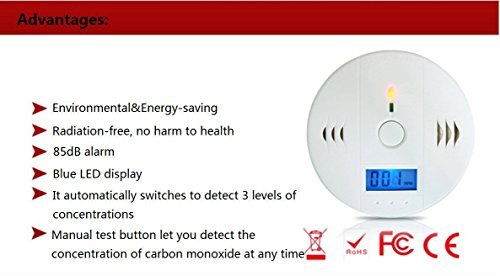 LCD Carbon Monoxide Detector Sensor Battery-operated Co Detector White 801