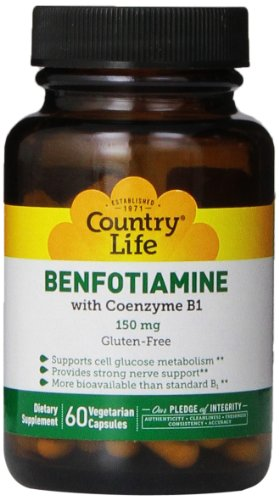 Country Life Vitamin B1 with Benfotiamine Capsules, 60