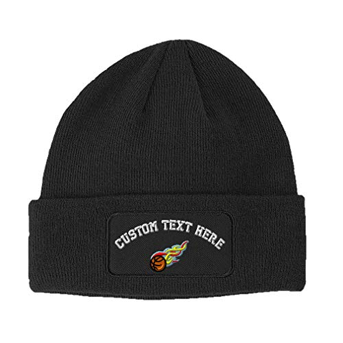 Custom Text Embroidered Sport Basketball Flames Ball Unisex Adult Acrylic Double Layer Patch Beanie Skully Hat - Dark Grey, One - Basketball Hat Embroidered