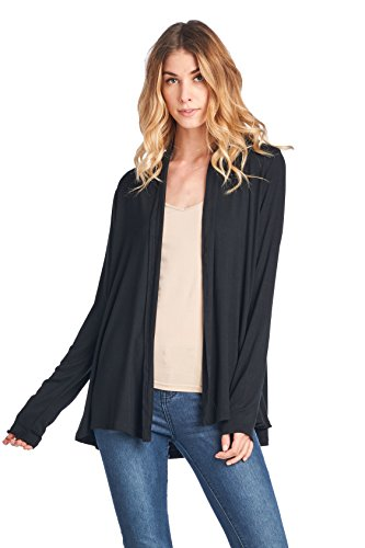 ReneeC. Women's Extra Soft Natural Bamboo Open Front Cardigan - Made in USA (Medium, Black) ()
