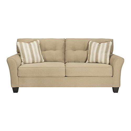 Benchcraft Laryn Contemporary Living Room Sofa – 2 Accent Pillows Included – Khaki