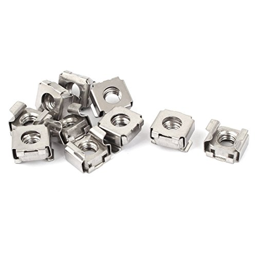 uxcell M8 x 1.25mm Pitch 304 Stainless Steel Cage Nuts Siliver Tone 10pcs (Cage Nuts Stainless Steel)