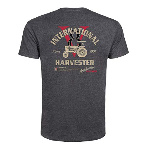 IH 1468 V8 - CASE IH International Harvester Adult Short Sleeve Tee Heather Charcoal ()