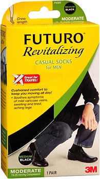 Futuro Revitalizing Casual Crew Length Socks for Men Moderate Compression Medium Black - 1 pr, Pack of 5