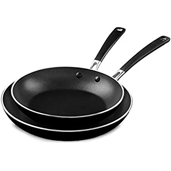 "KitchenAid KC2A10TPOB Aluminum Nonstick 10"" & 12"" Skillets Twin Pack - Onyx Black, Medium"