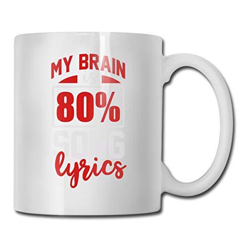 (Riokk Az My Brain is 80 Percent Song Lyrics 11oz Coffee Mugs Funny Cup Tea Cup Birthday)
