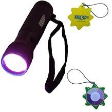 HQRP Professional Pocket Urine / Spots Oil / Paint / Blood on the Surface Detector 12 LED UV Flashlight 365 nm Wavelength plus HQRP UV Meter