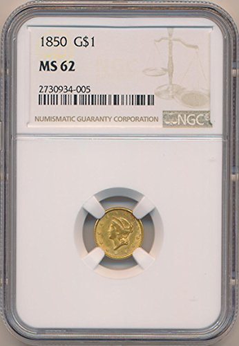 1850 P $1 Gold (Pre-1933) MS62 NGC - Ngc Ms62 Gold Coin