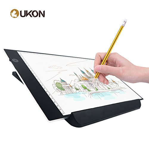 UKON A4 LED Light Box Drawing Light Pad Art Tracing Xray Light Board for Tracer Kids Artists Diamond Painting with Dimmable Brightness for Embroidery Sketching Animation Stenciling (A4 with Stand) by UKON