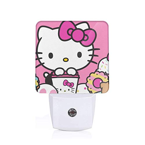 Meirdre Plug in Night Light - Hello Kitty with Dounts Warm White LED Nightlight with Automatic Dusk-to-Dawn Sensor