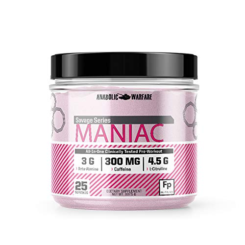 Maniac Preworkout Powder by Anabolic Warfare - Preworkout Supplement with Caffeine and Beta-Alanine (Fruit Punch - 25 Servings)