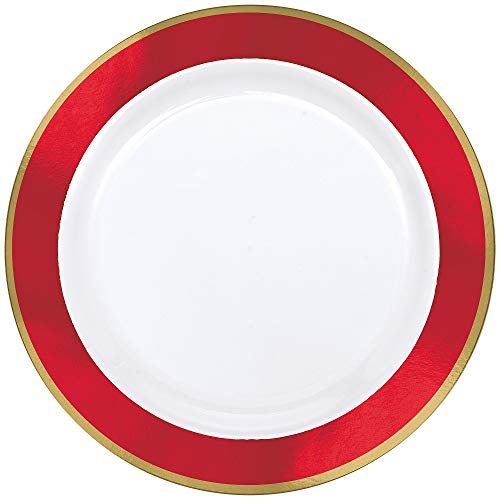(White Premium Plastic Round Plates With Red Border, 10 Ct. | Party Tableware)