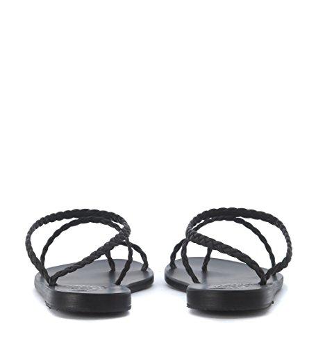 Greek piel Sandals negra Sandalia Ancient en entrelazada Negro Eleftheria qxOCxz5
