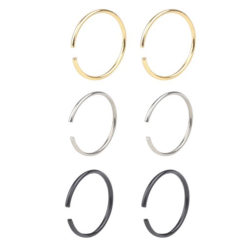 STU 20G Tiny Nose Ring Hoop Nose Piercing Clip on Ear Hoop Ring Fake Nose Ring Nose Lip - Tiny Nose Piercing