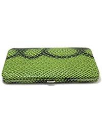 GREEN SNAKE HARD CASE FLAT OPERA WALLET BY DESIGNSK
