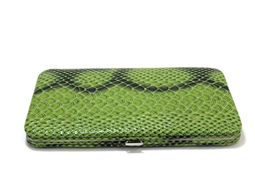 WOMEN FLAT OPERA WALLET CLUTCH BY DESIGNSK (Green Snake) - Green Flat Wallet
