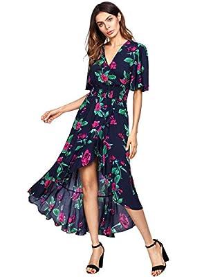 MakeMeChic Women's Short Sleeve Floral High Low V-Neck Long Maxi Dress
