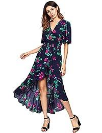 MAKEMECHIC Maxi Vestido Largo de Manga Corta Floral con Cuello en V Alto y bajo para Mujer