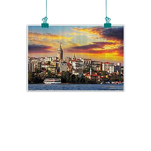 (European Cityscape Decor Collection Art Oil Paintings Istanbul at Sunset with The Sea Capital of Byzantine Old Roman Ancient Tower Print Canvas Prints for Home Decorations 24