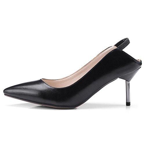 COOLCEPT Damen Kitten Heel Pumps Schuhe Strap Black
