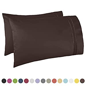 "Nestl Bedding Premier 1800 Pillowcase - 100% Luxury Soft Microfiber Pillow Case Sleep Covers - Hypoallergenic Sleeping Encasements - Queen Standard Size (20""x30""), Chocolate Brown, Set of 2 Pieces"