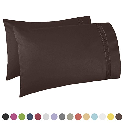 Nestl Bedding Premier 1800 Pillowcase - 100% Luxury Soft Microfiber Pillow Case Sleep Covers - Hypoallergenic Sleeping Encasements - Queen Standard Size (20
